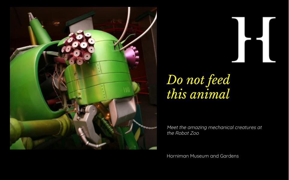 Horniman robot zoo spec ad